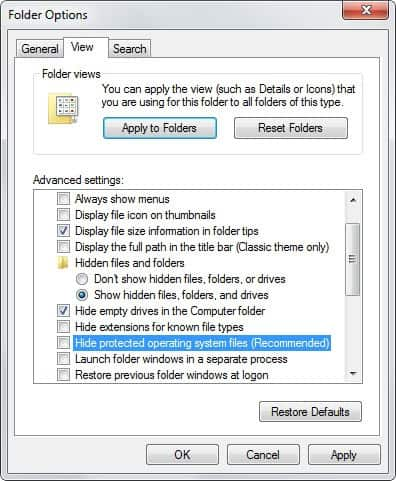 hide protected operating system files