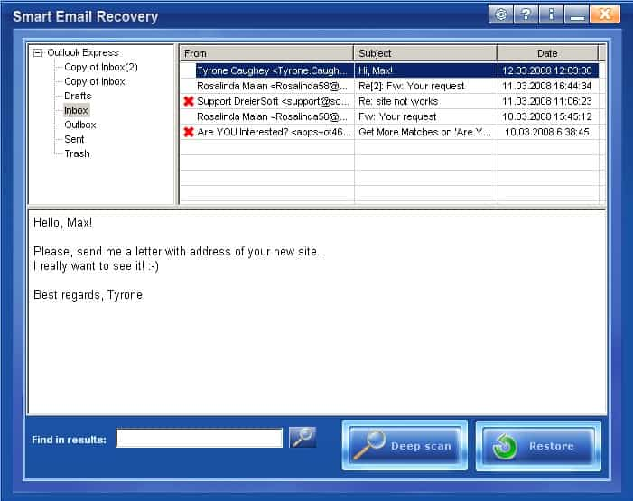 outlook express email recovery