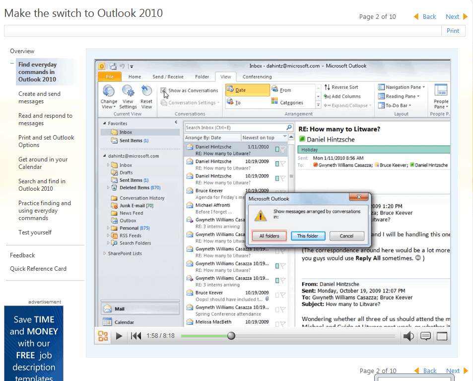 outlook 2010 training