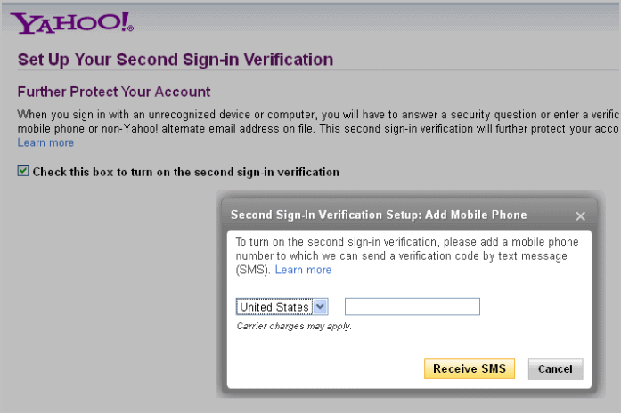 yahoo second sign-in verification