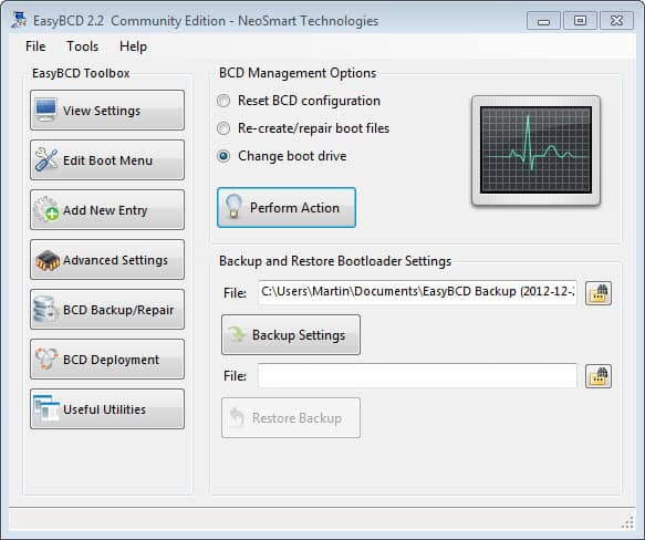 easy bcd change boot drive