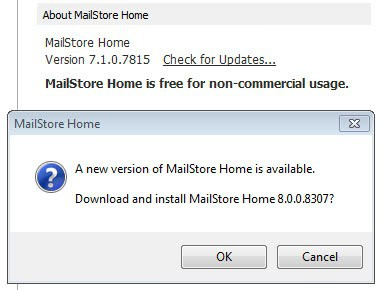 mailstore home update 8.0 screenshot