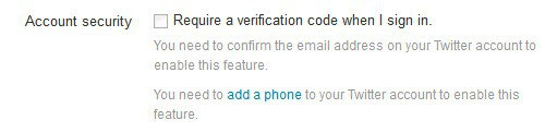 twitter two-factor authentication setup