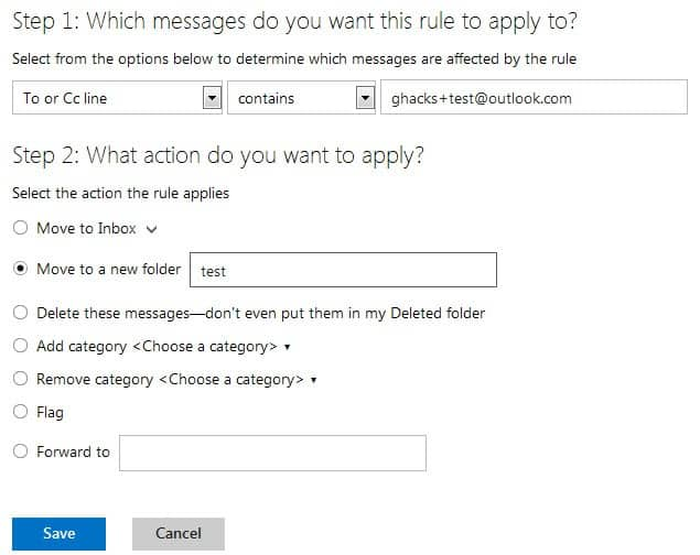 outlook create rules