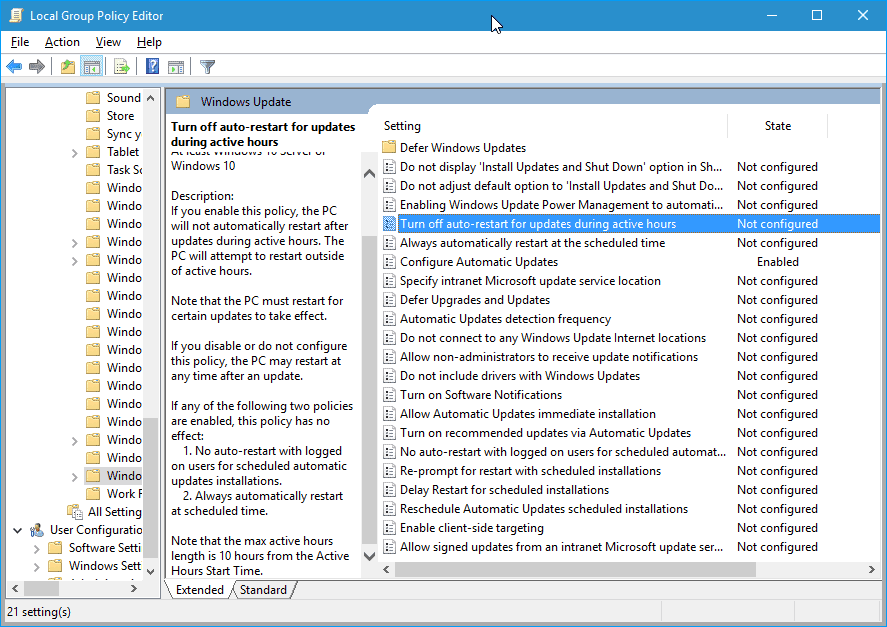 active hours group policy