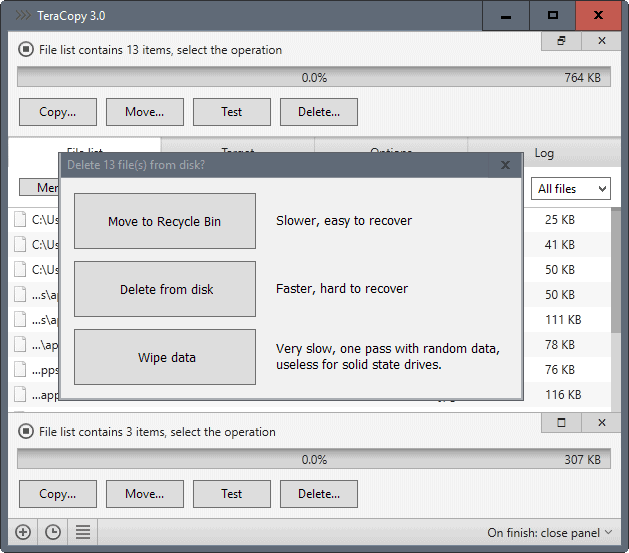 teracopy wipe files