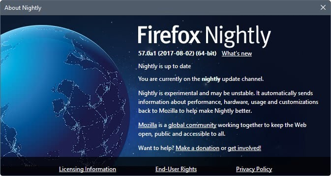 You cannot downgrade Firefox 55 profiles