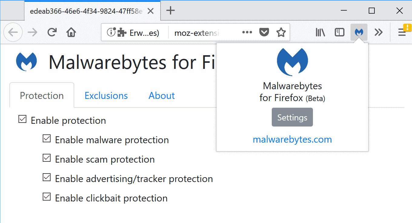 Malwarebytes for Firefox extension