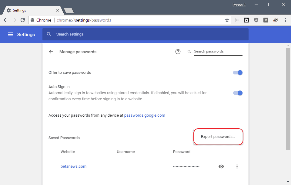 chrome export passwords