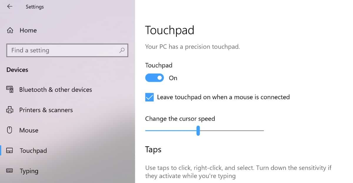 surface pro touchpad