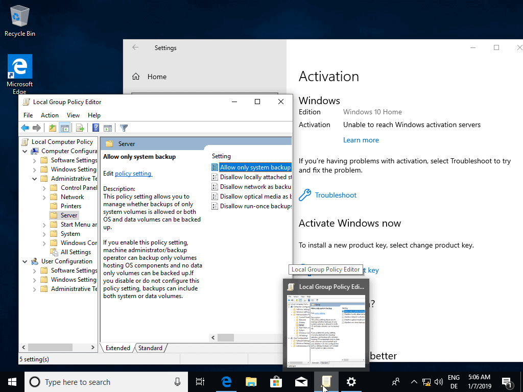 windows 10 home group policy editor