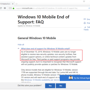 windows 10 mobile support end