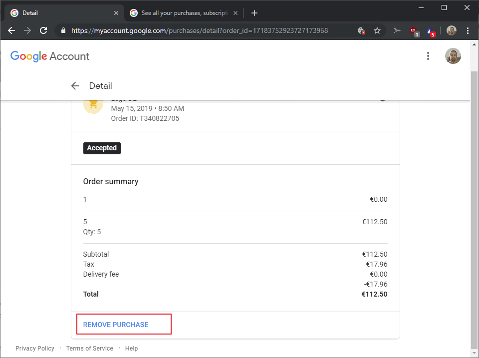 gmail remove purchases