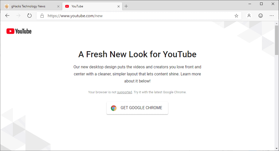google youtube not supported