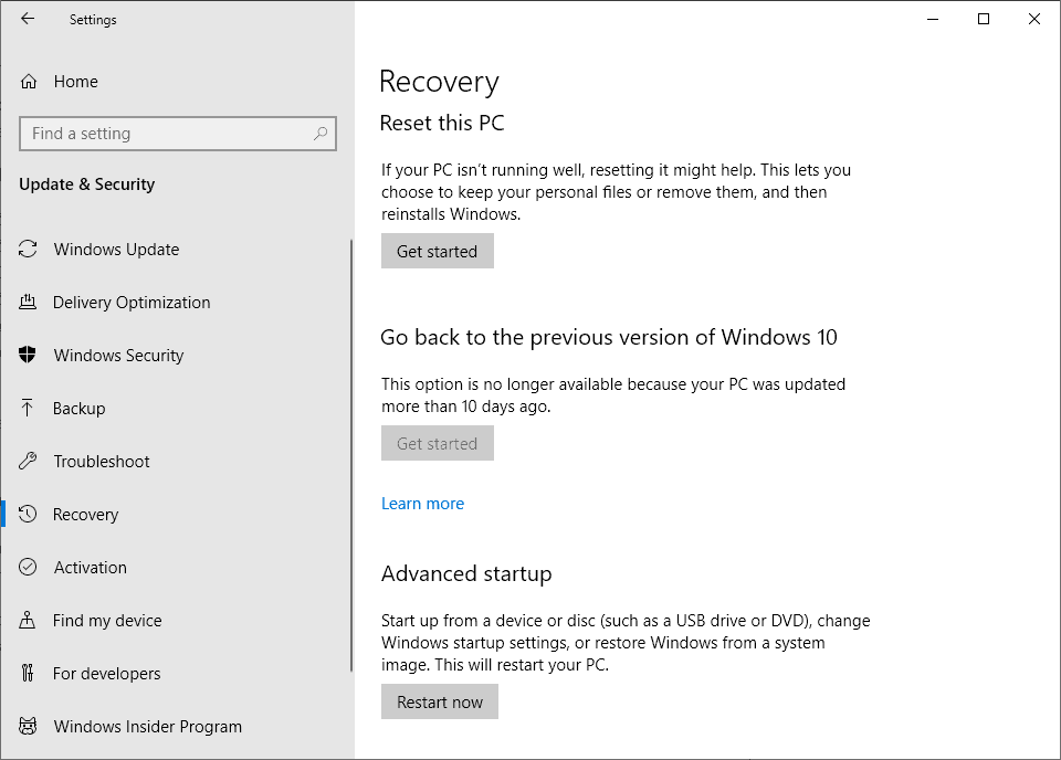 windows 10 system restore fails