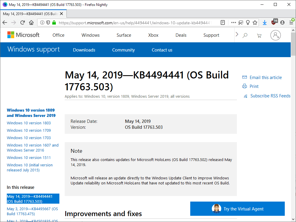 windows may 2019 microsoft security updates
