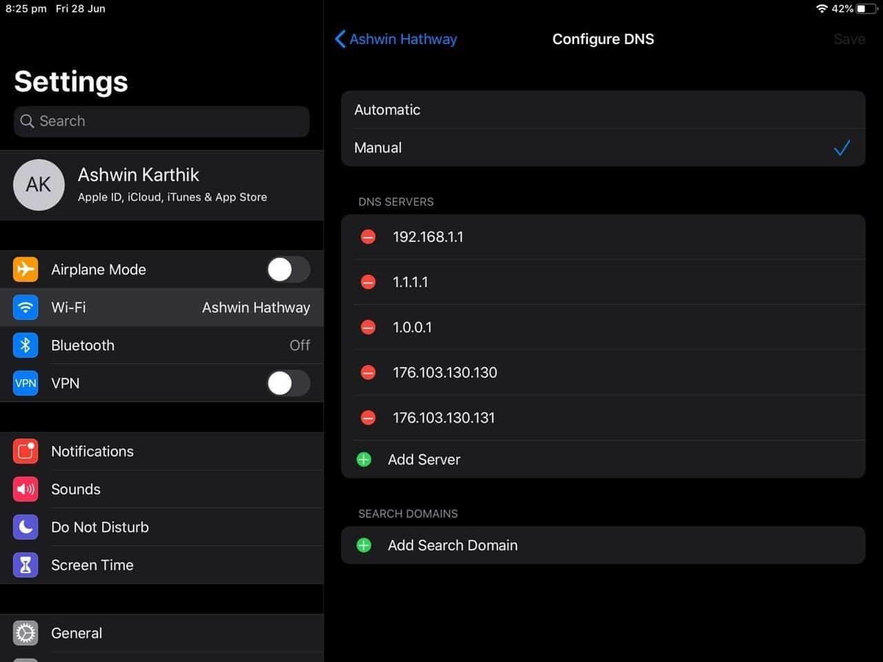 How to configure the DNS in iOS