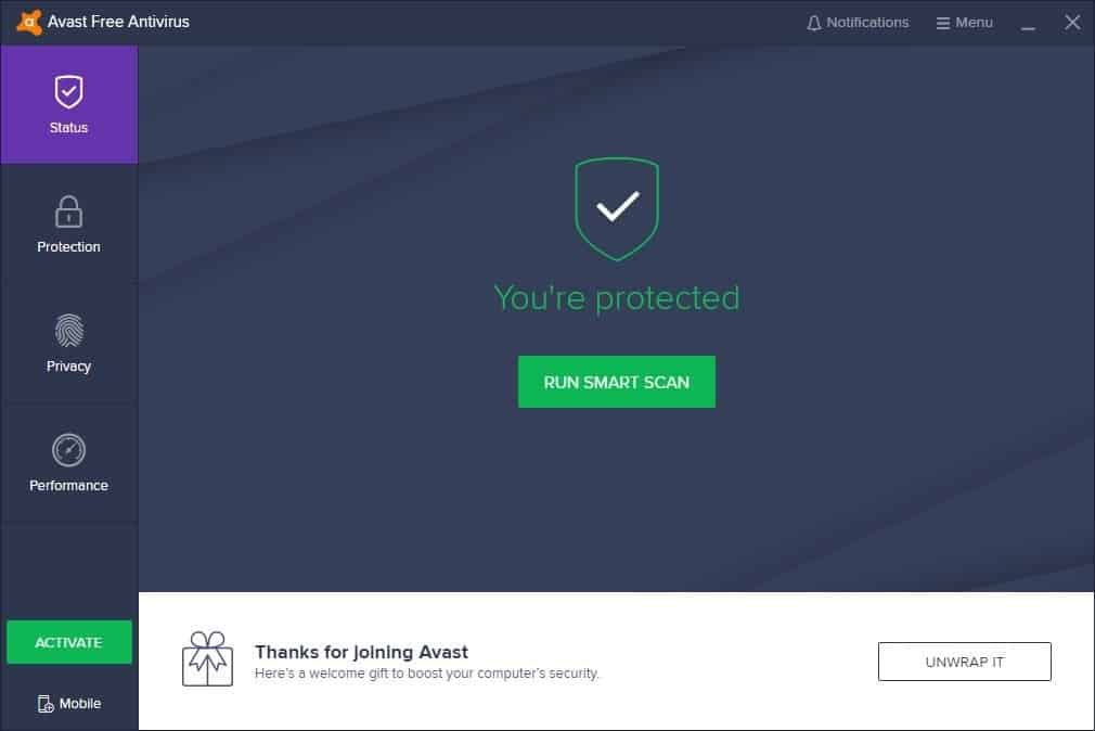 Avast Free Antivirus - interface
