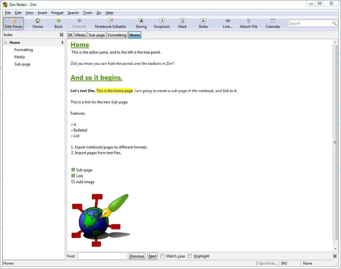 Zim is a free, open source, text editor with wiki like features