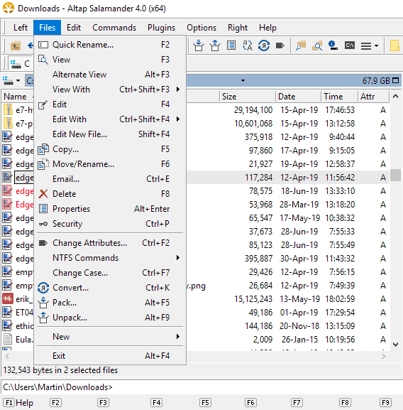 commands shortcuts file manager
