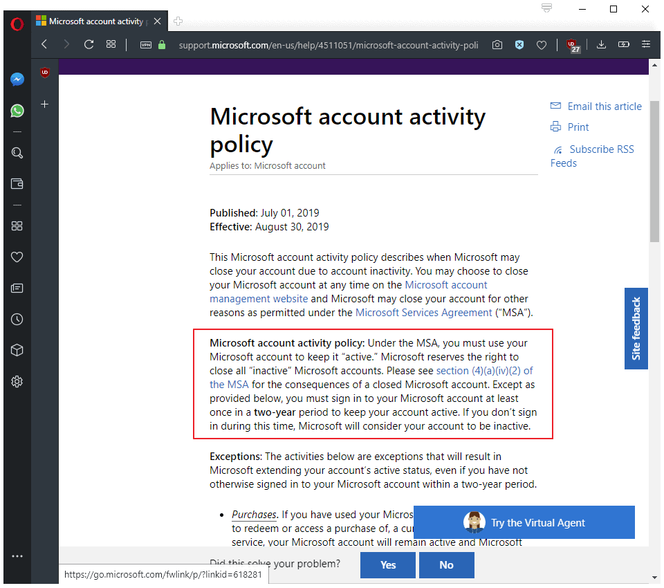 microsoft account policy