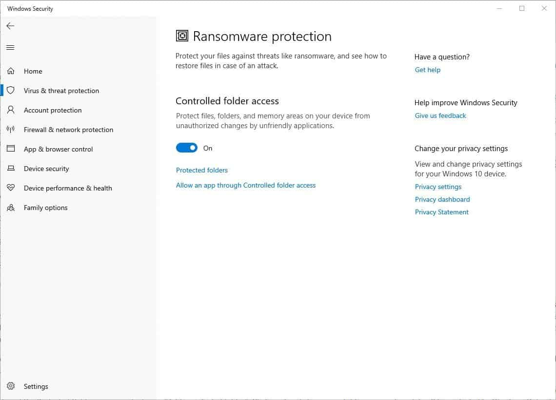 How to enable Ransomware Protection 2
