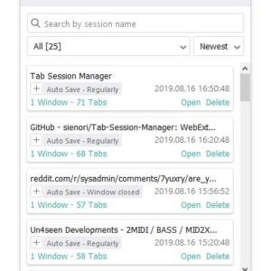 Tab Session Manager is an addon that saves your windows and tabs