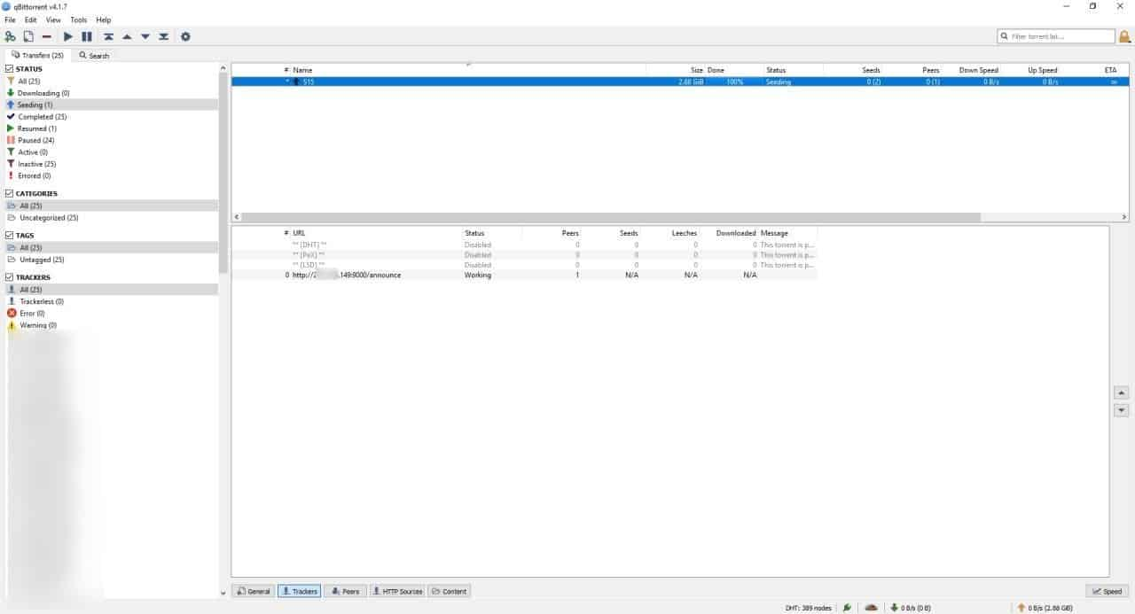 Seeding a private torrent using qBittorrent