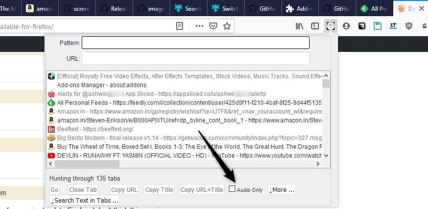 How to locate a noisy tab in Firefox and switch to it instantly