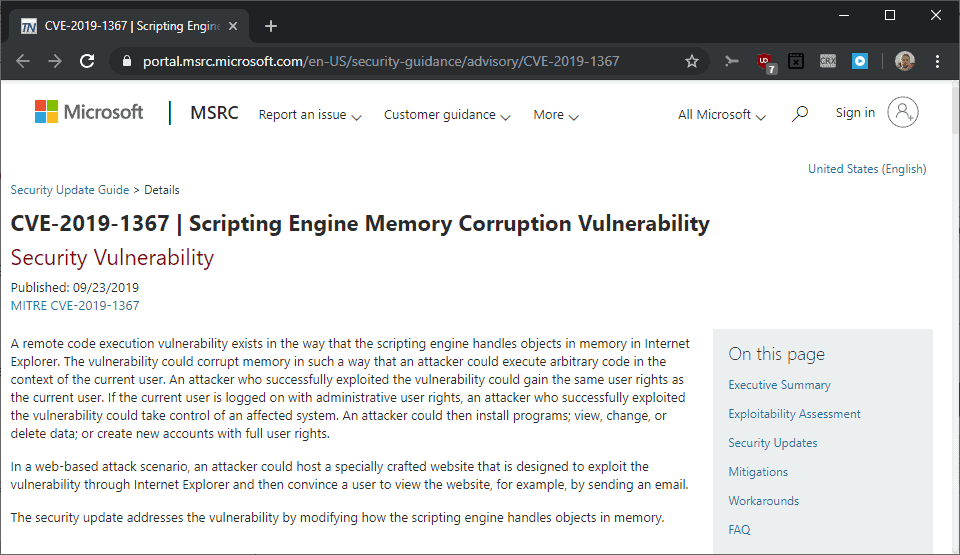internet explorer security out of band