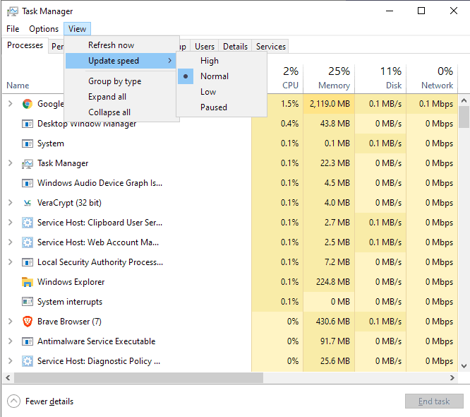 task manager update speed windows