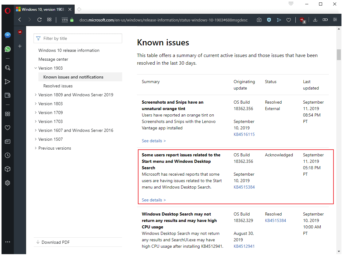 windows 10 1903 search issue