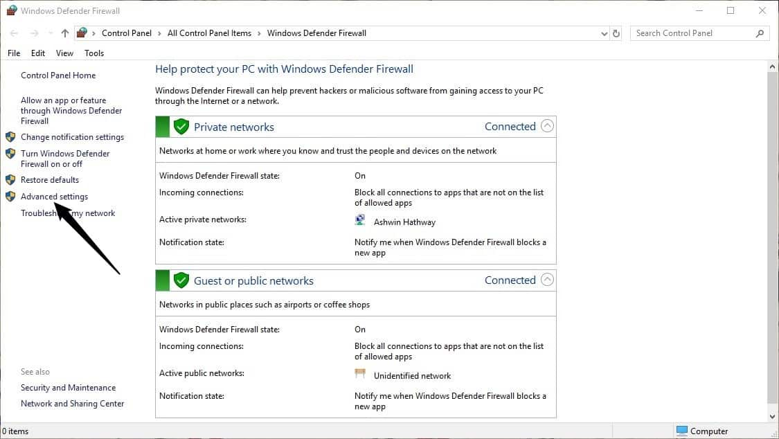 How to block Windows programs from accessing the internet - Firewall step 1