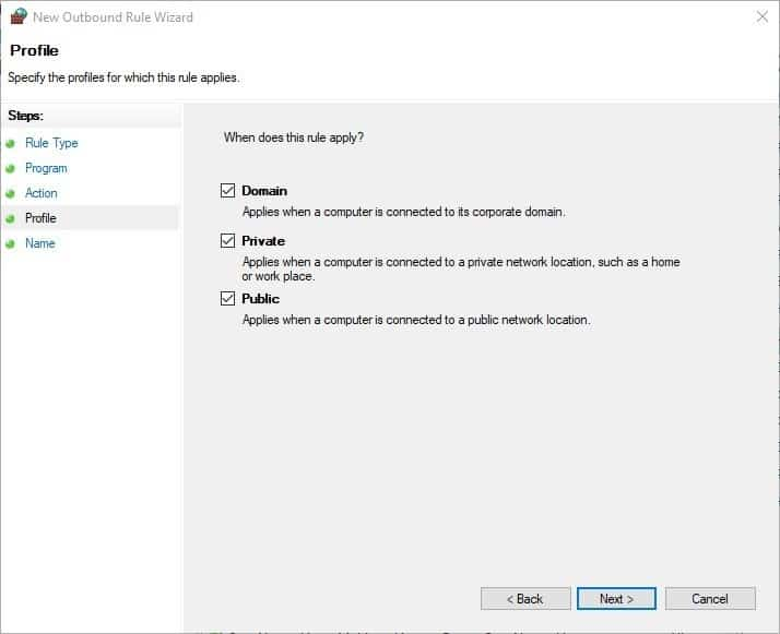 How to block Windows programs from accessing the internet - Firewall step 6