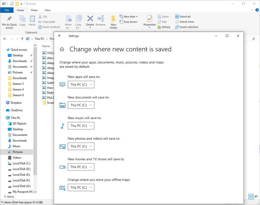 How to change the default save location in Windows 10