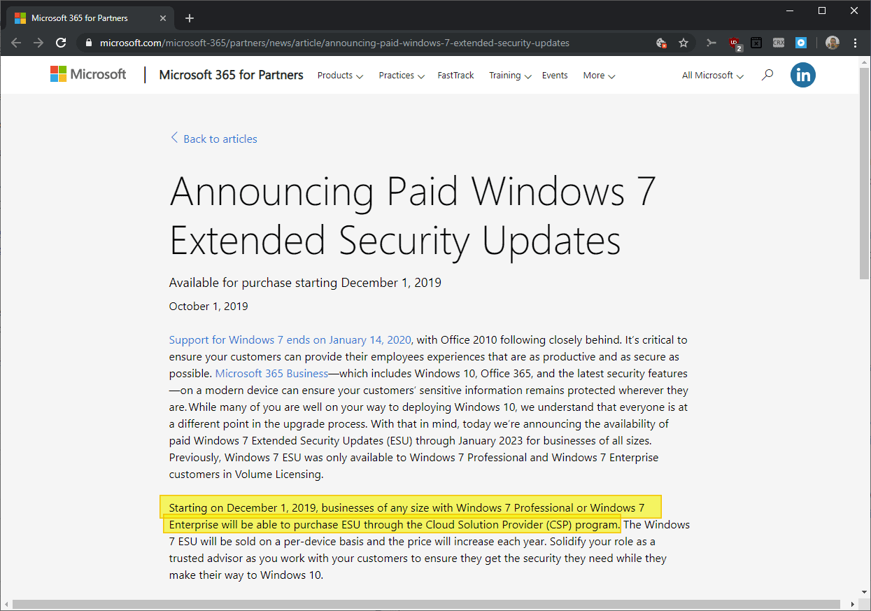 windows 7 extended support small business