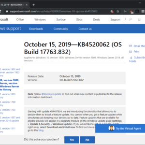 windows october 2019 updates KB4520062