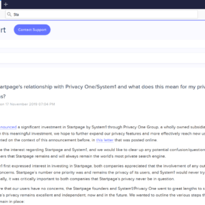 startpage system1 privacy one group