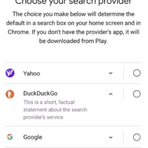 choose-search provider google android