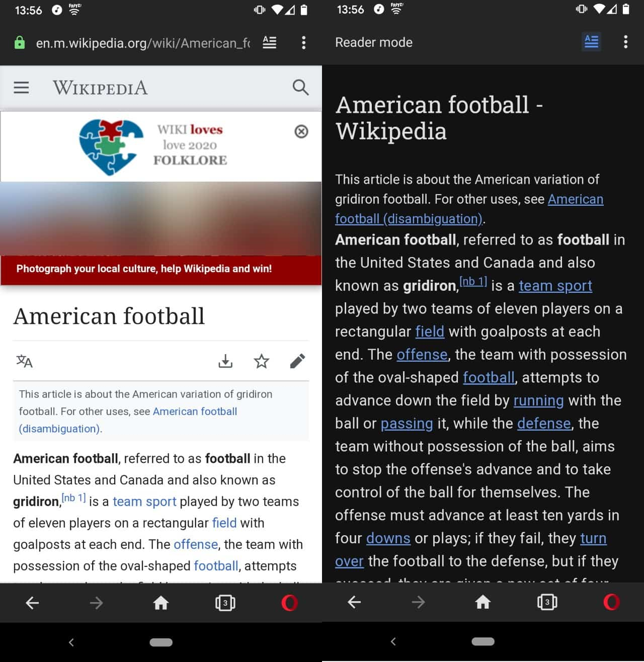 opera 56 android reader mode