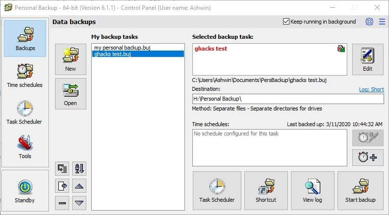 Personal Backup is a freeware file backup tool for Windows