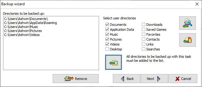 Personal Backup select folders and files