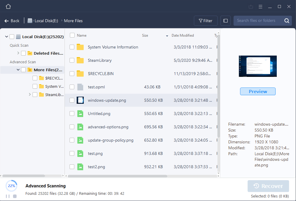 file recovery previews