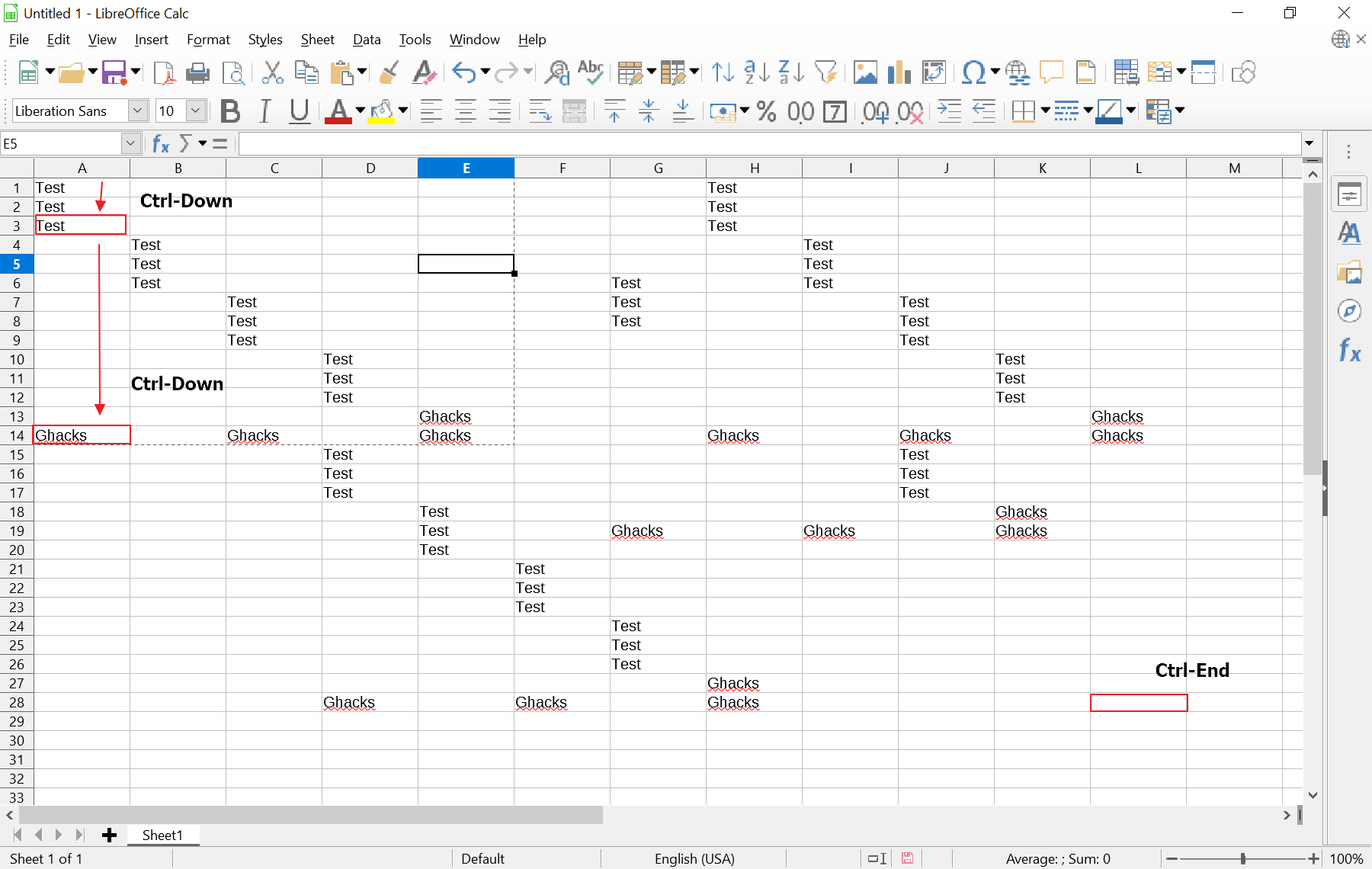 excel spreadsheet jump to last row with data