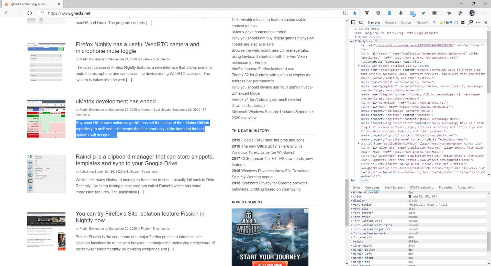 How to identify fonts on any webpage using Chrome developer tools