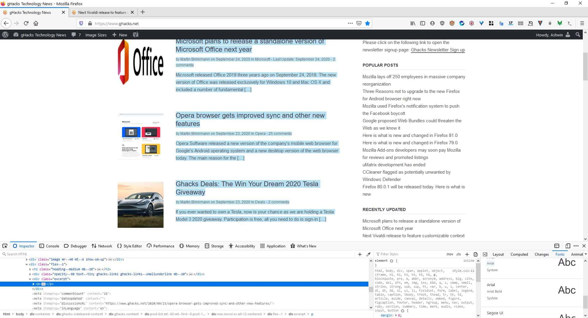 identify fonts on any webpage using Firefox developer tools - all fonts on page 2