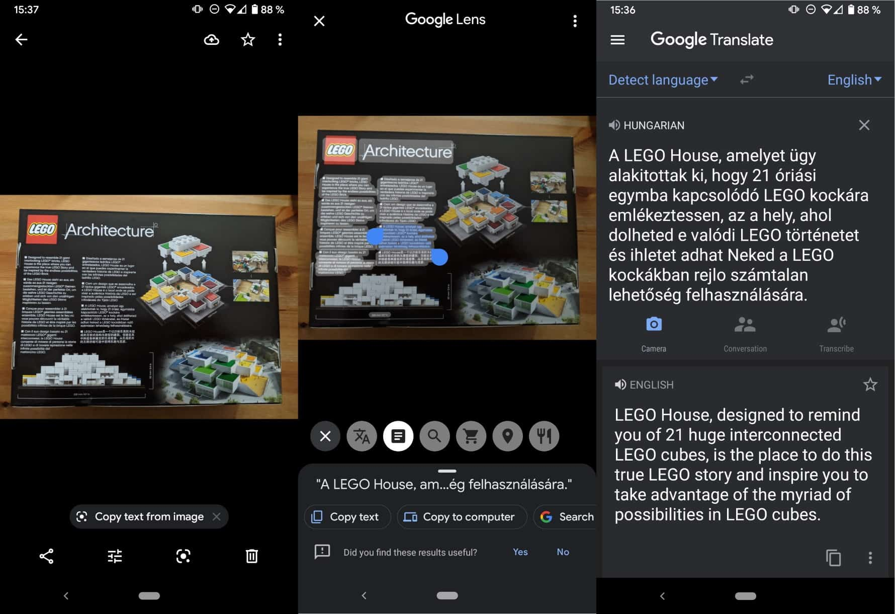 google-photos android text translate copy