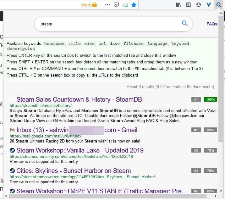 Search All Tabs extension for Firefox and Chrome