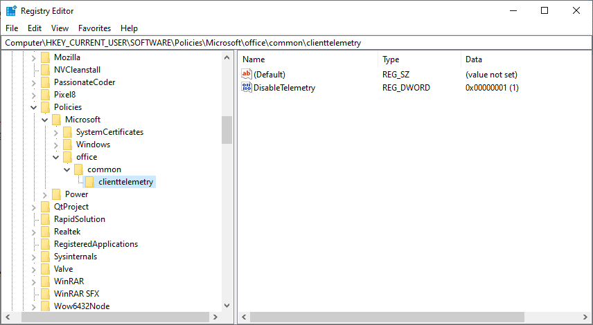 disable telemetry office 365