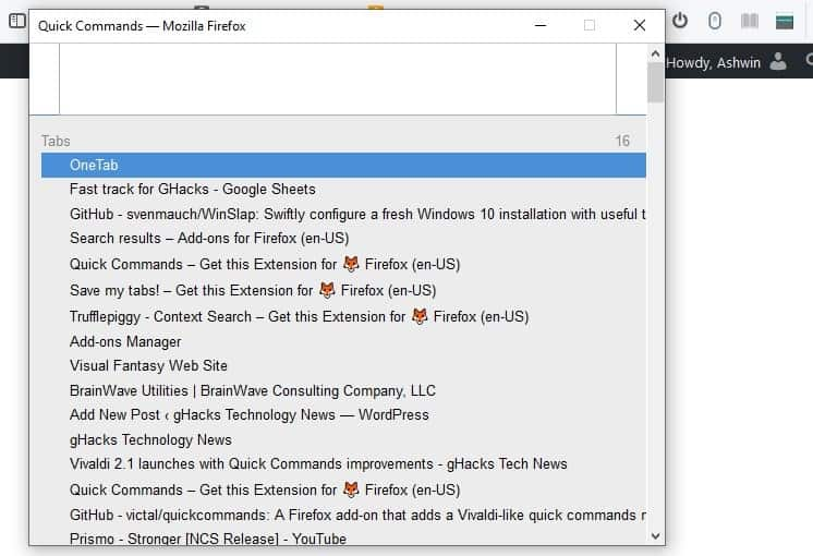 Quick Commands is a Firefox extension that works similar to Vivaldi's shortcuts